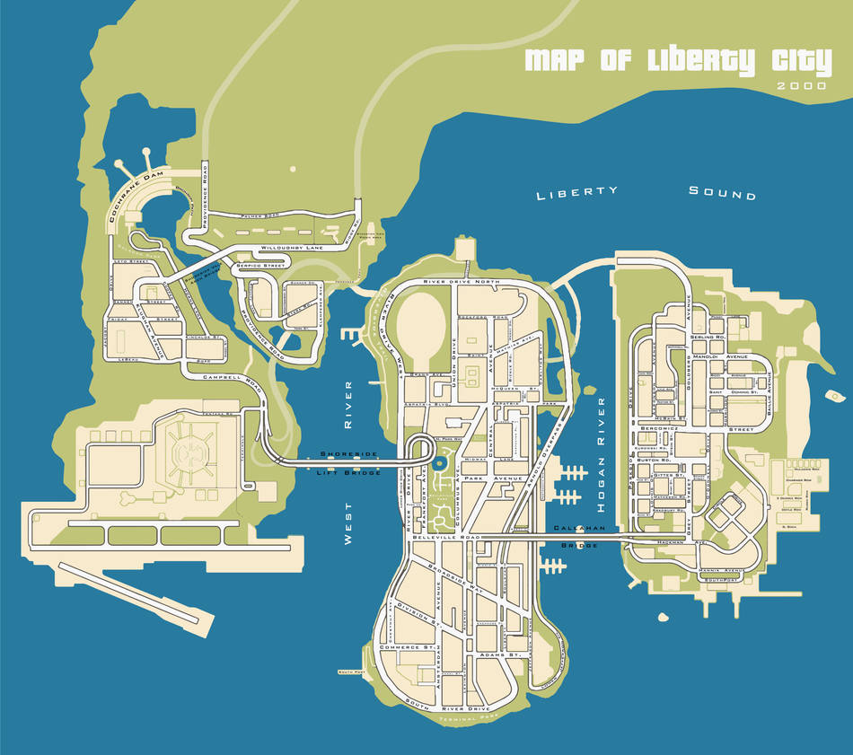 Map of Liberty City - with street names by roset03 on DeviantArt