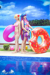 Panty and Stocking on Summer by Angel--Arwen