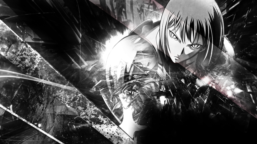claymore black and white wallpaper by skeptec on deviantart