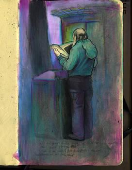 homeless dude reading paper