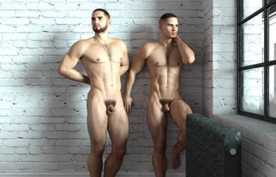 Twin brothers nude by achillias-da