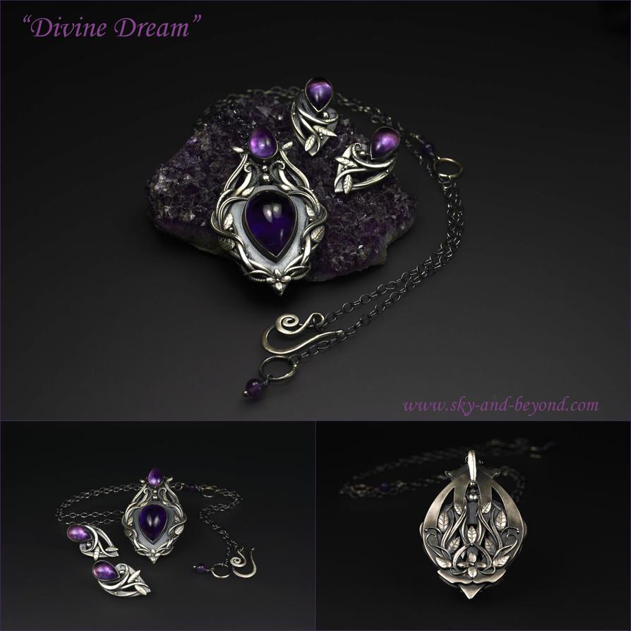 Divine Dream - Amethyst and Fine Silver by rodicafrunze