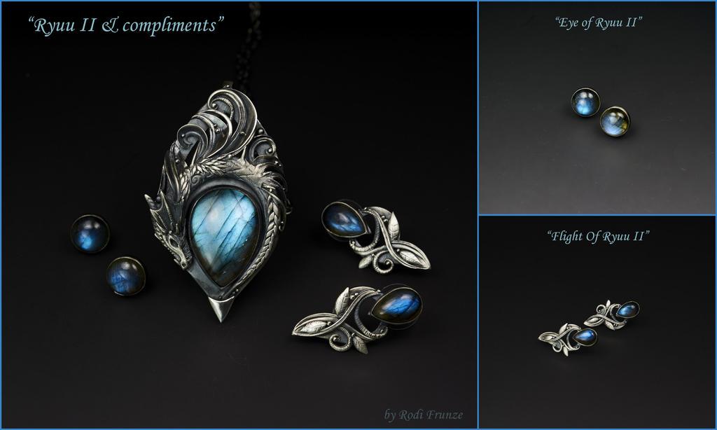 Ryuu II - Dragon Pendant and earrings by rodicafrunze