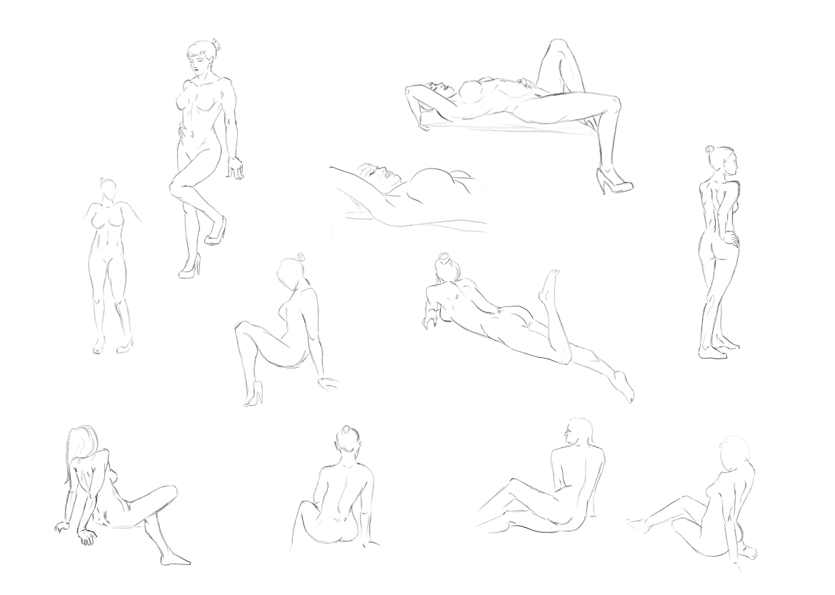 This is an image of Crafty Female Body Line Art