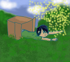 box child with fireflies by Paranoid-spectrum