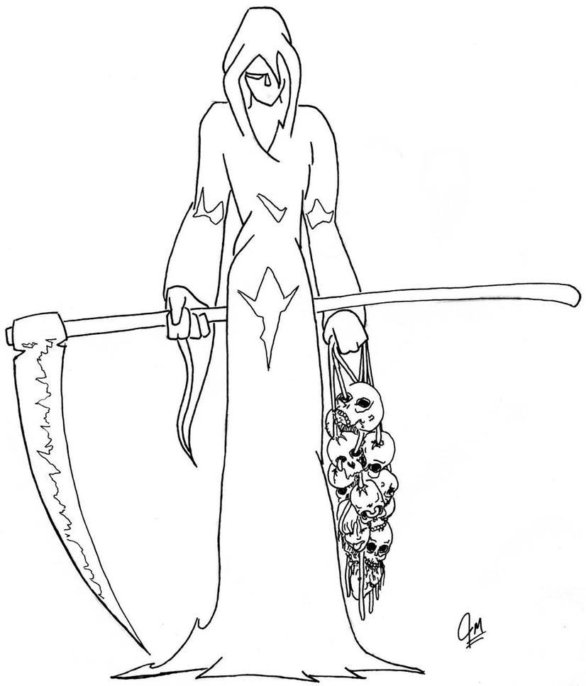 Simple Skull Line Art : Easy drawings of grim reaper