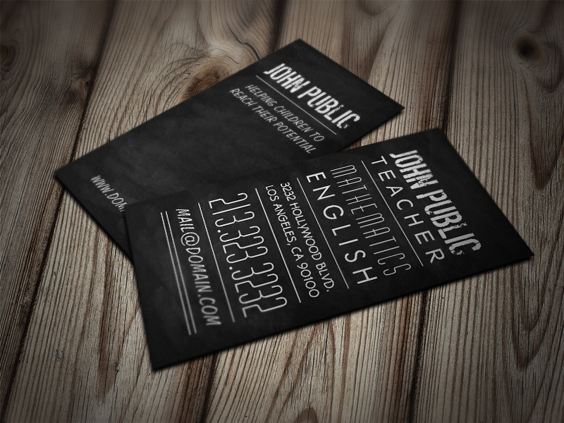 Teacher and Tutor Chalkboard Business Cards by es32 on DeviantArt