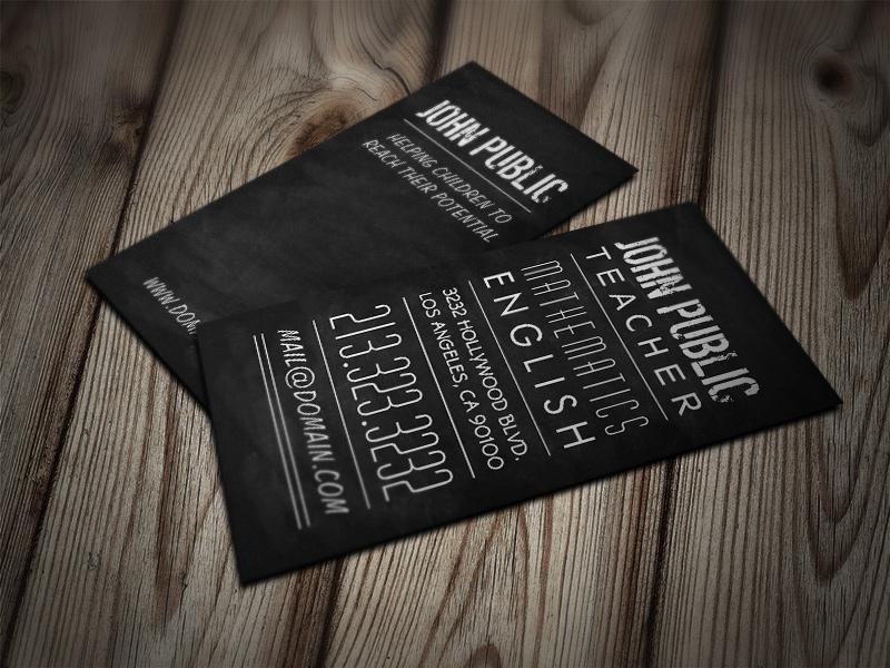 Teacher and Tutor Chalkboard Business Cards by es32 on DeviantArt