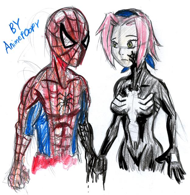 Spider-Man vs Symbiote Sakura by AnimePOOPY on DeviantArt