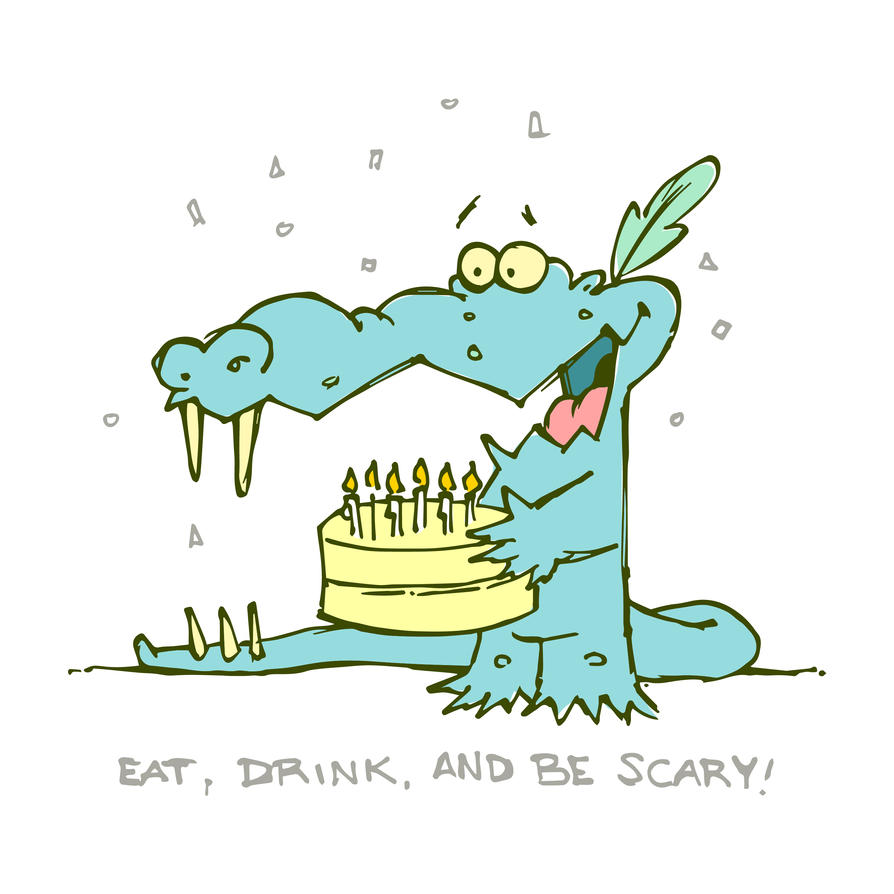 Eat Drink and Be Scary Monster Birthday Card by daabcreative