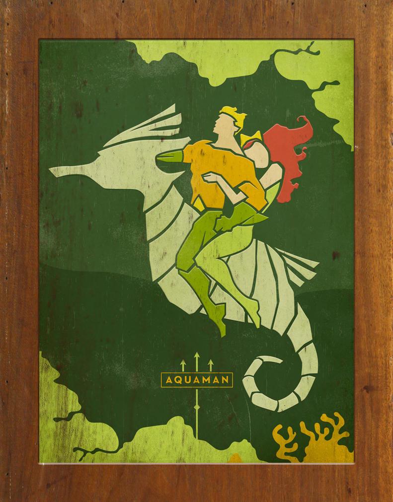 Aquaman and Mera Wood Wall Art by daabcreative