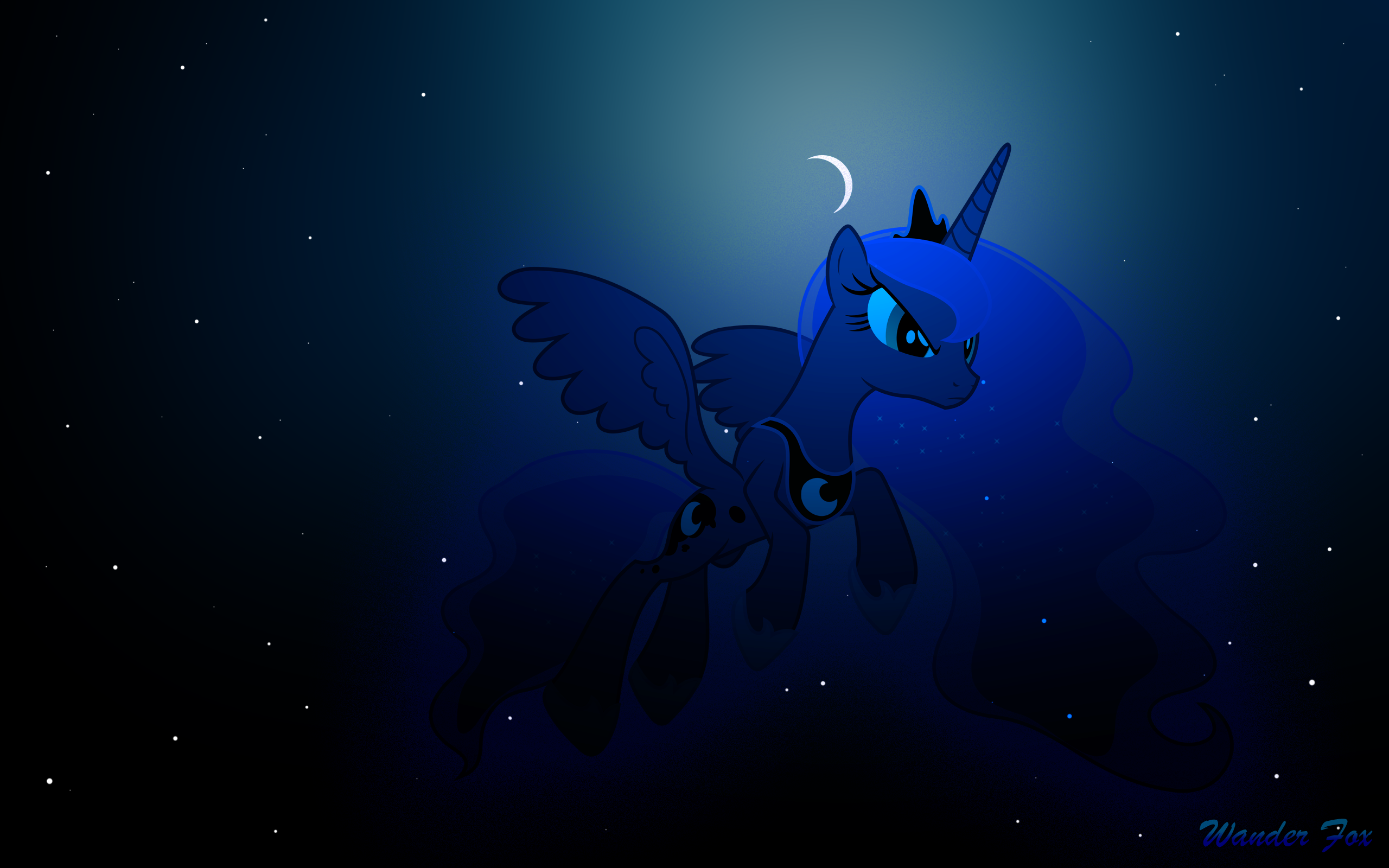 Luna Fly on Night Sky