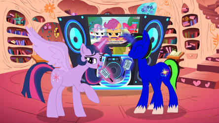 Twilight Sparkle and Pipa singing karaoke