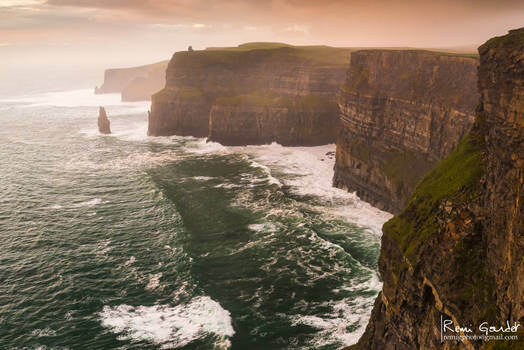 Rainy sunset at Cliffs of Moher