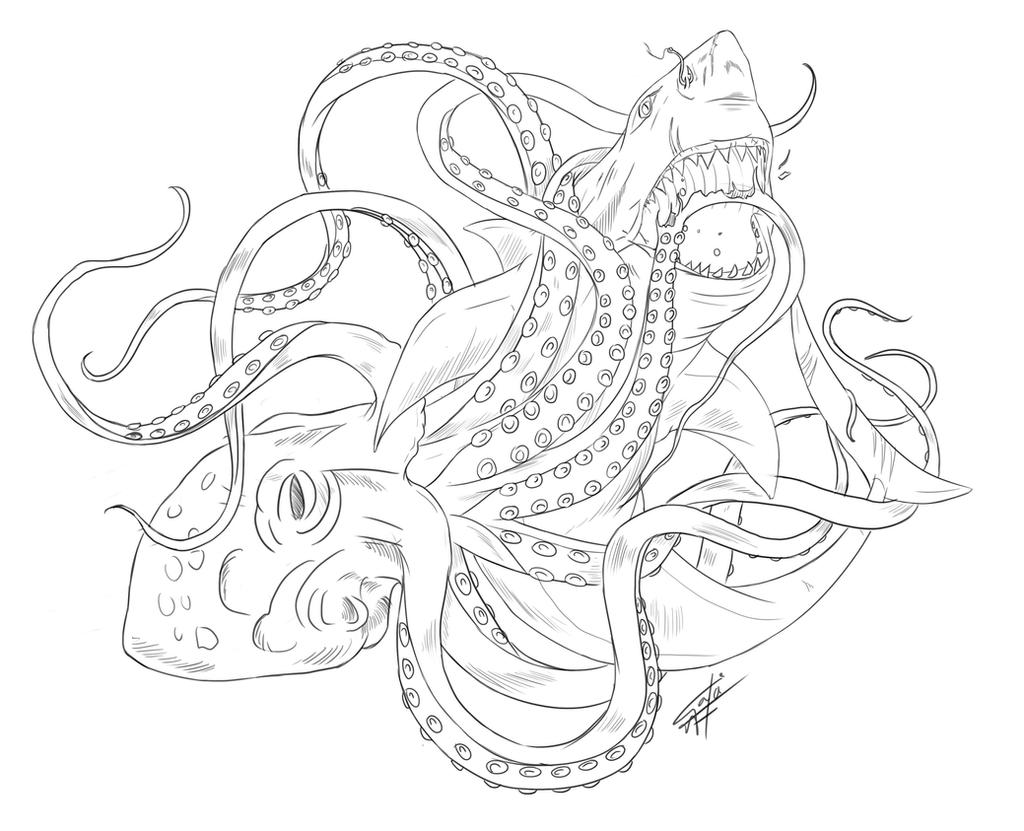 Octopus 20clipart 20black 20and 20white moreover 1689 delfiny Do Wydruku together with Krabbe Mit Riesigen Scheren as well 1604 furthermore Jumping Dolphins Outline. on sea animals outlines