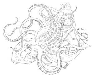 Shark VS Octopus by GakiRules