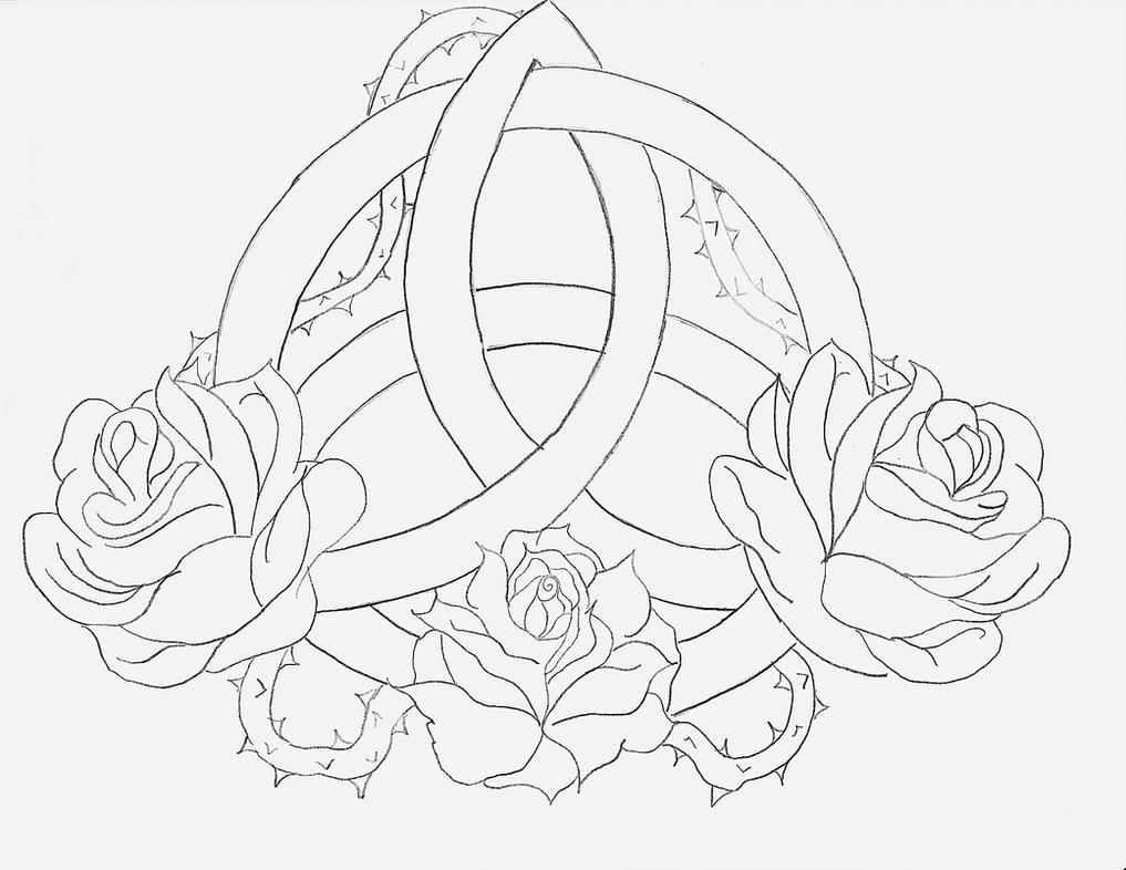 D Line Drawings Logo : Celtic triquetra rose by angelmae on deviantart
