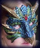 Blue Green Dragon Mask by Namingway