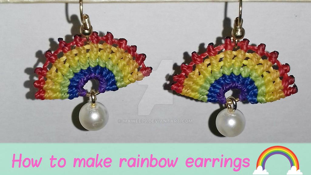 Macrame Rainbow earrings by Mawee79