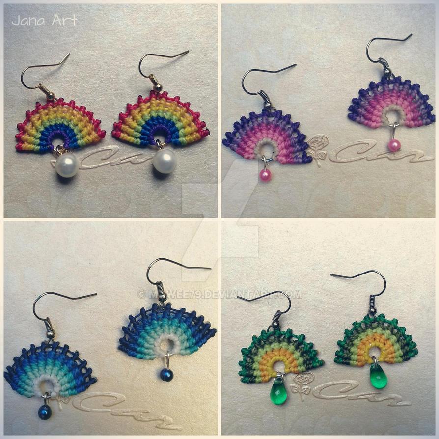 Macrame Fan Earrings by Mawee79