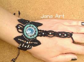 Black and Blue Macrame slave bracelet by Mawee79