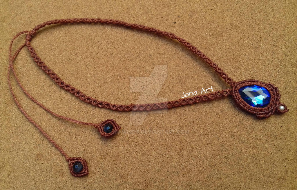 Macrame sapphire necklace by Mawee79