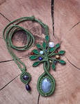 Macrame Tree of Life with gemstones