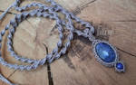 macrame necklace with sodalite and lapislazuli