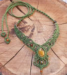 Macrame necklace with tiger eye and amber beads