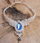 Macrame necklace with sapphire