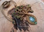 Macrame Tree of Life necklace with aventurine