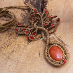 Macrame Tree Of Life necklace with red jasper