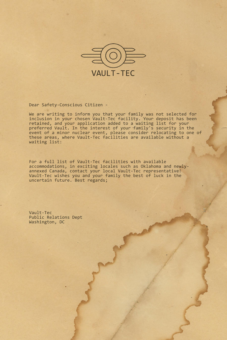 letter from vault tec