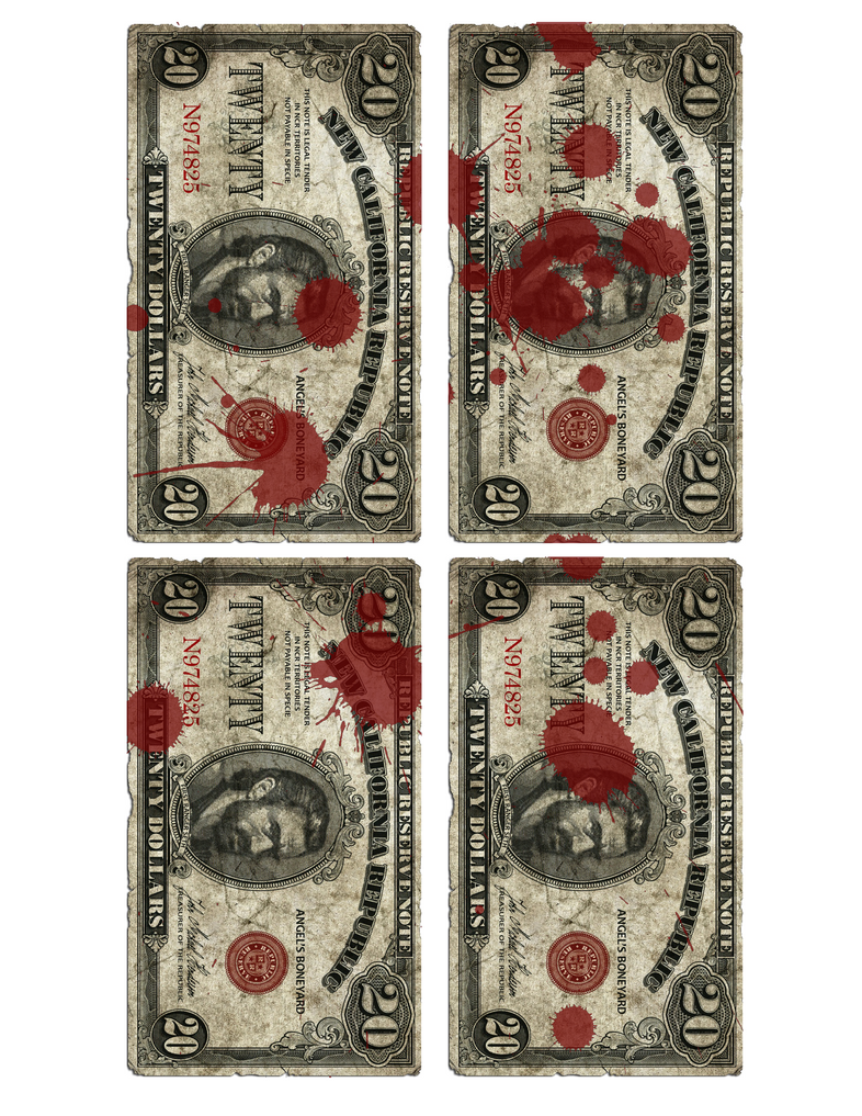 Blood spattered Banknotes by emptysamurai