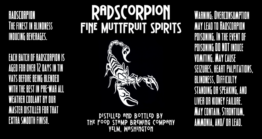 Radscorpion Brand Fine Muttfruit Spirits by emptysamurai