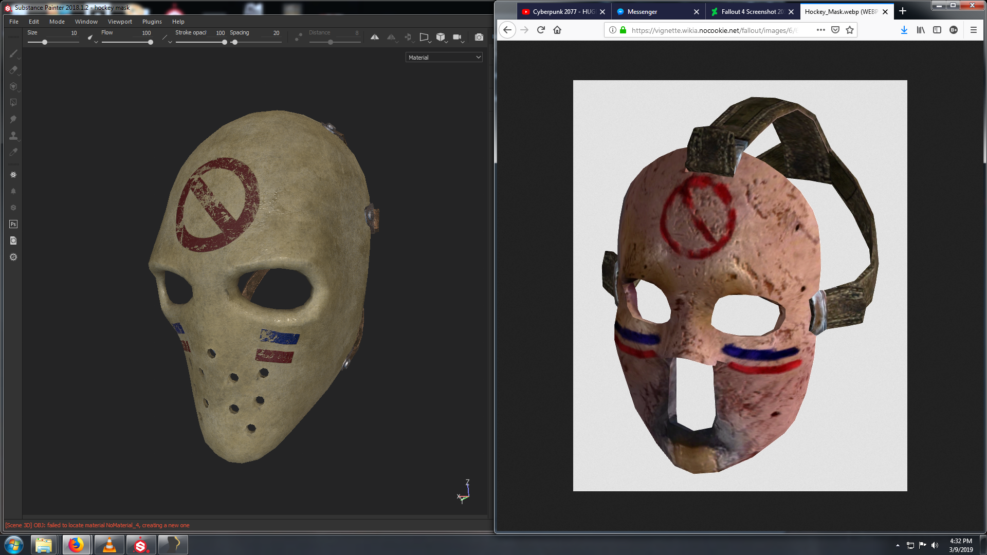 one of the hockey mask meshes