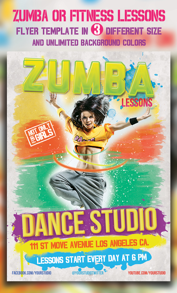 Zumba Or Fitness Lessons Flyer Templates By Majkolthemez ...  Free Fitness Flyer Templates
