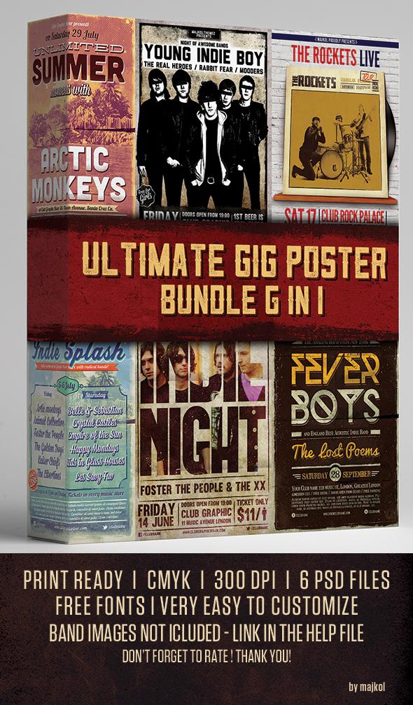Ultimate Gig Poster Bundle 6 in 1 by majkolthemez