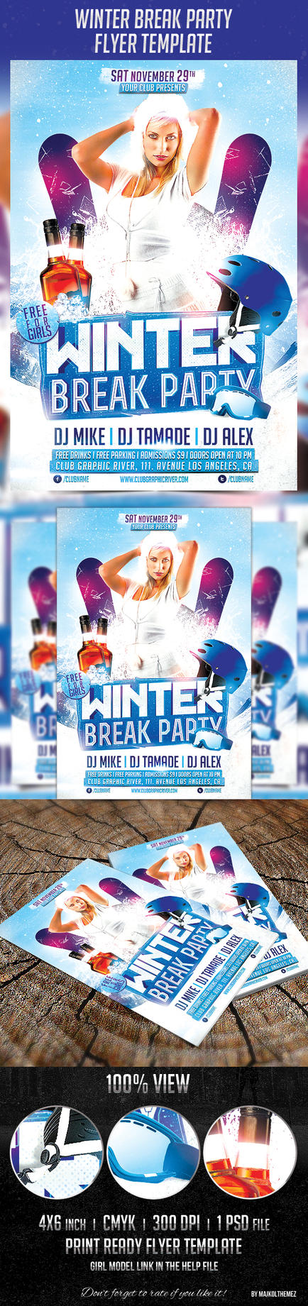 Winter Break Party Flyer Template by majkolthemez
