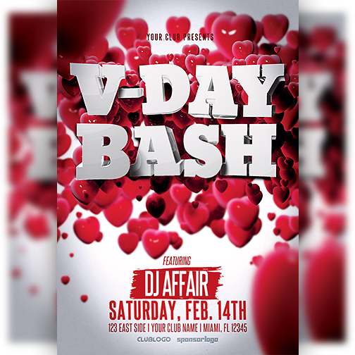 Valentine's Day Party Flyer Template by majkolthemez