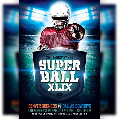 Super Ball Game XLIX Flyer Template by majkolthemez