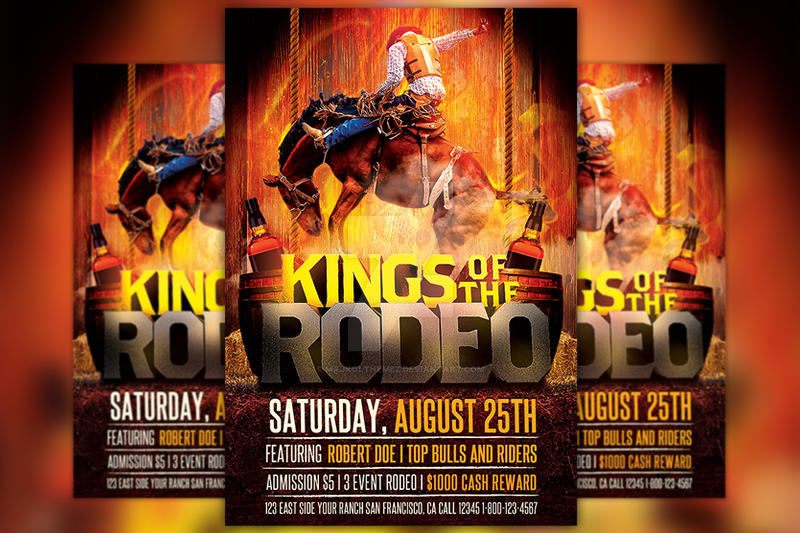 Kings of the Rodeo Flyer Template by majkolthemez