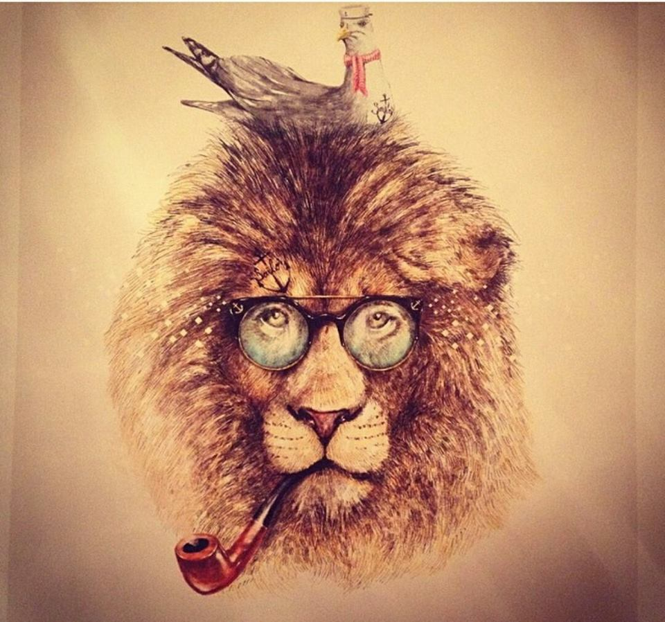 Hipster lion drawing - photo#10