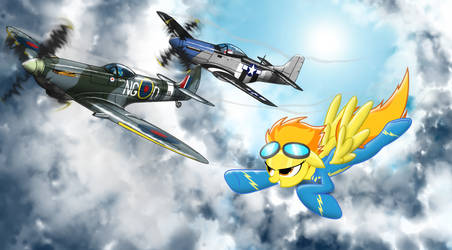 Spitfire flying with vintage friends