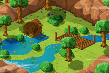 Landscape scenery design for 'Puzzycat'