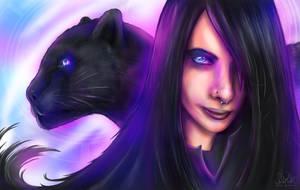 Gothicgirl in Neonlights