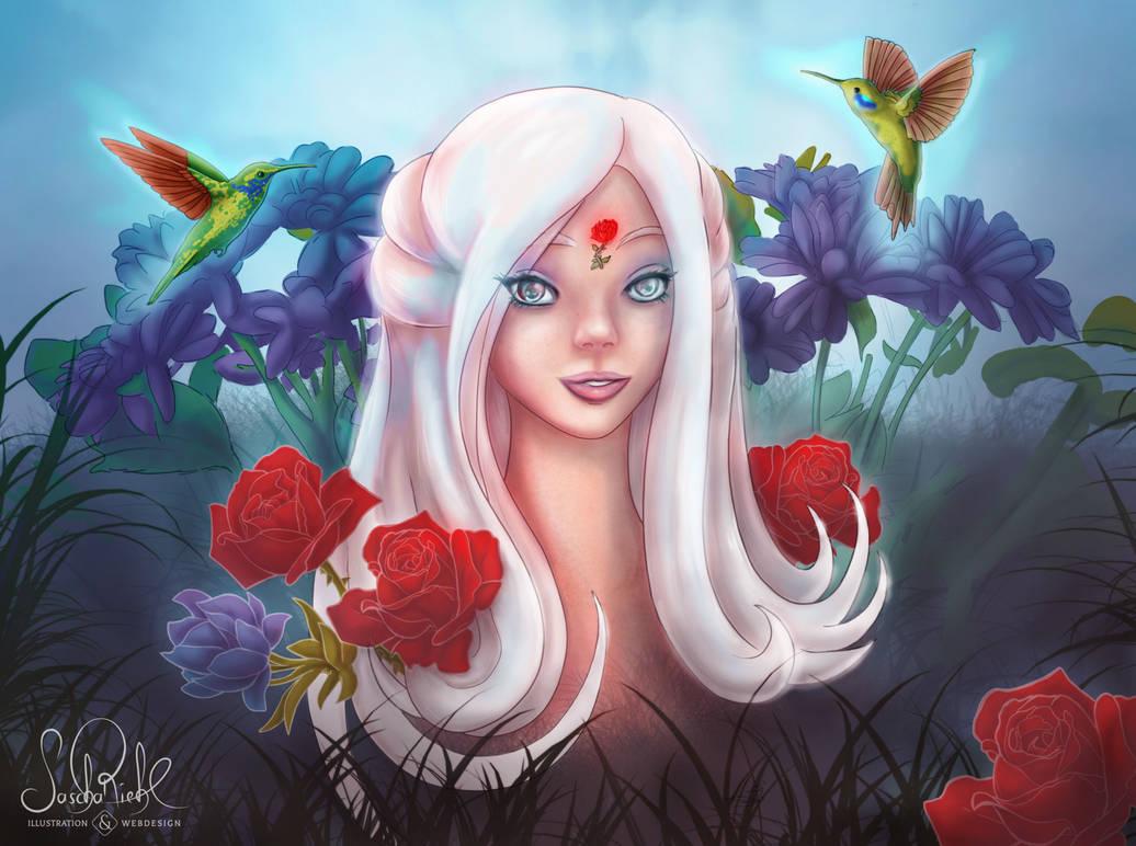Girl in the Flowerfield by RiehlART