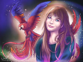 Girl with Macaw