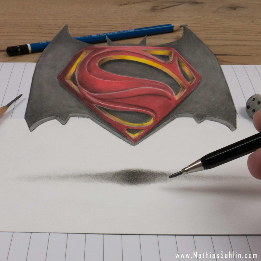 Batman Vs Superman Logo 3D Speed Drawing by MathiasSahlin ...