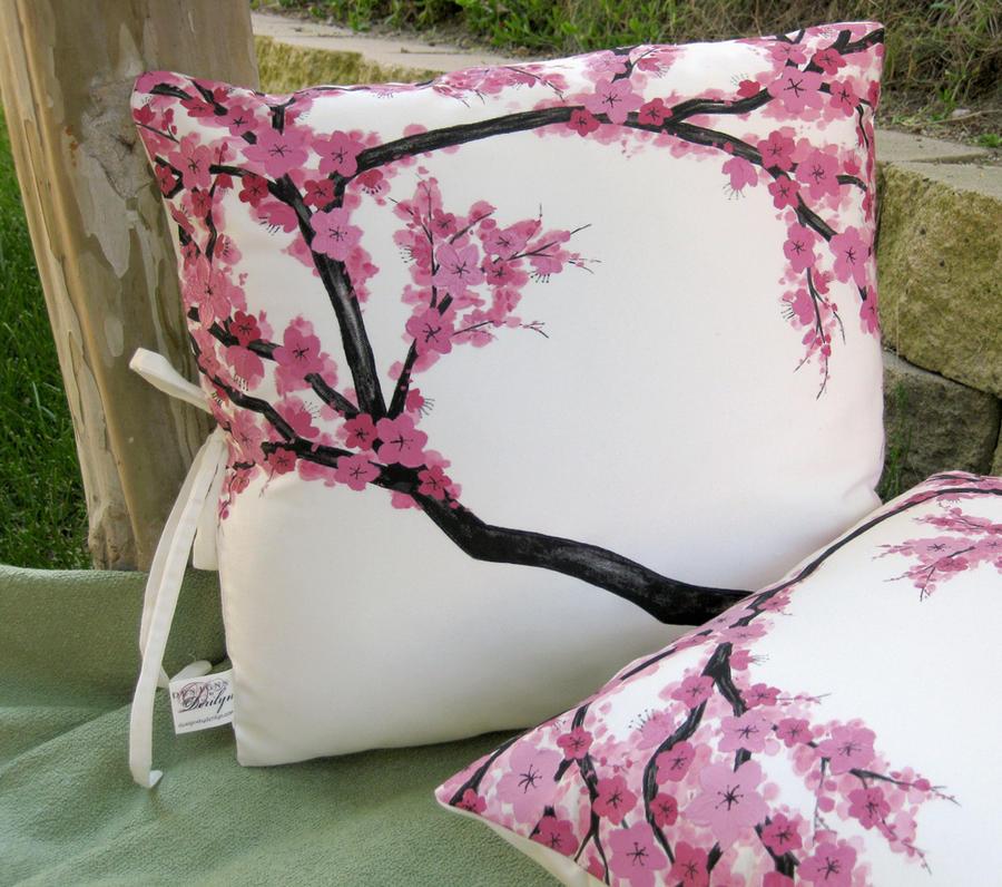 Cherry Blossom Throw Pillows by derilyn